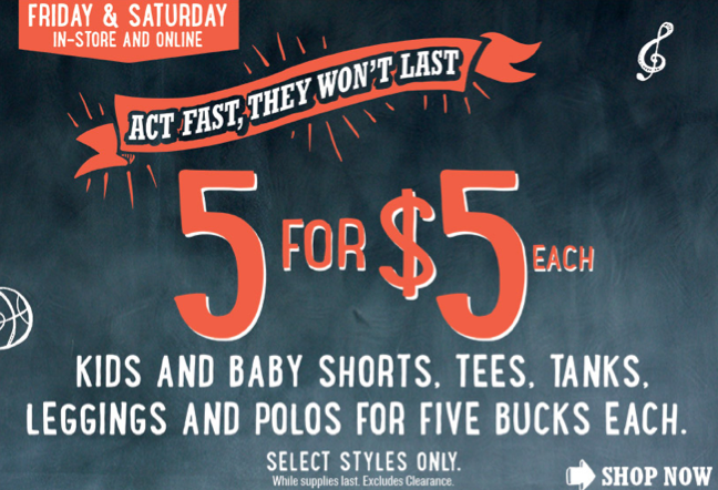 Old Navy: $5 Kids and Baby Shorts, Tees and Tanks Sale In-Store and Online (Thru Tomorrow Only!)